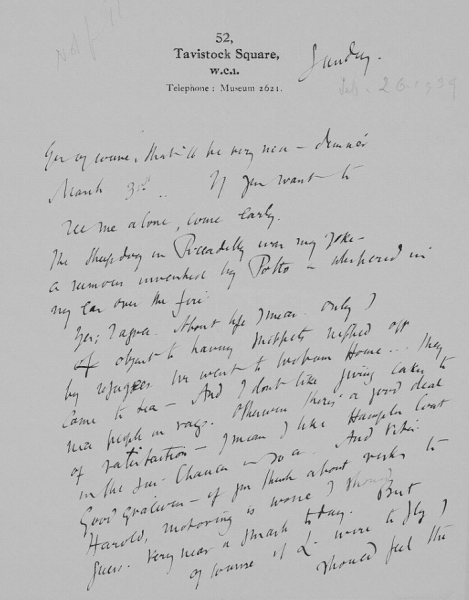Figure 5. Letter from Virginia Woolf to Vita Sackville-West.